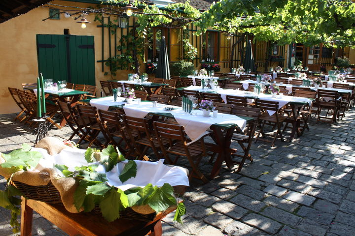 romantischer Innenhof unter Weinreben